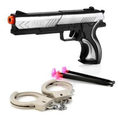 НАБОР ПОЛИЦИЯ (ПИСТОЛЕТ С ПРИСОСКАМИ, НАРУЧНИКИ) В ПАК. 24*3*12,5СМ в кор.2*180шт пистолет shantou gepai пистолет с присосками наручники черный b1421535