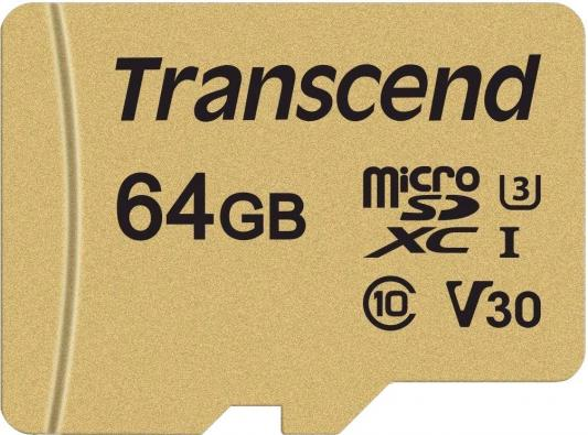 Micro SecureDigital 64Gb Transcend Class 10 TS64GUSD500S {MicroSDXC Class 10 UHS-I U3, SD adapter} samsung micro sdhc tf card 64gb class 10 w tf to sd card adapter orange 64gb