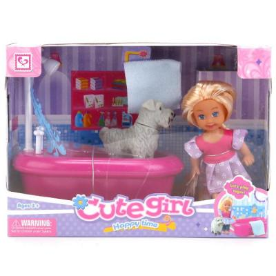 Купить Игровой набор Shantou Кукла с собакой и аксессуарами, пластмасса, Классические куклы и пупсы