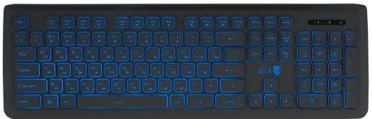 Проводная слим-клавиатура Jet.A SlimLine K20 LED с классической раскладкой и синей светодиодной подсветкой, 105 клавиш, USB, тёмно-серая
