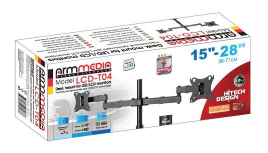 Фото - Кронштейн для мониторов Arm Media LCD-T04 black для 2-х 15-28, max 2х7 кг, 6 ст свободы, наклон ±10°, поворот ±90°, выс. штан. 358 мм, VESA100x100мм кронштейн для мониторов arm media lcd t04 black