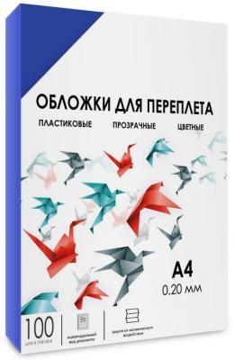 Обложки для переплета прозрачные пластиковые ГЕЛЕОС А4, 0.2 мм, синие, 100 шт. защитные пластиковые пакеты plastic liners 100 шт