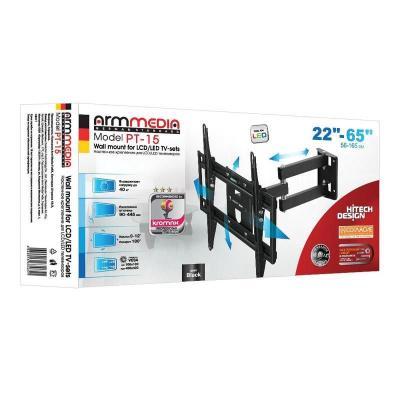Кронштейн Arm media PT-15 NEW Black для TV 32-55, max 40 кг, 4 ст. свободы., от стены 105-429 мм. max VESA 400x400 мм.