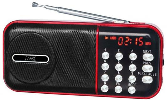 Фото - Радиоприемник MAX MR-321 Red/Black micro SD / USB, AM/FM приёмник, LCD экран, воспроизведение до 6 часов, 5 Вт, встроенный сабвуфер micro camera compact telephoto camera bag black olive