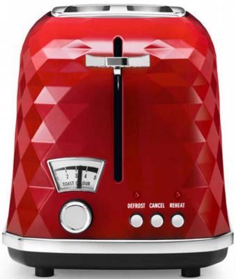 Тостер DeLonghi CTJ2103.R, 900Вт, разморозка, на 2 тоста, решетка для подогрева, поддон, красный