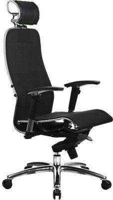 Кресло Samurai S-3.02 с 3D подголовником Черный плюс кресло метта samurai s 1 black python edition черный сетка