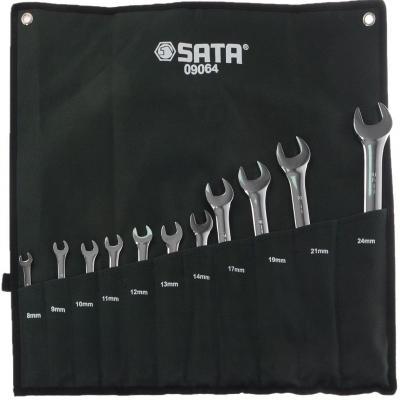 Набор комбинированных ключей SATA 09064 (8 - 24 мм) 11 шт. force 5121 набор комбинированных ключей 8 23 мм