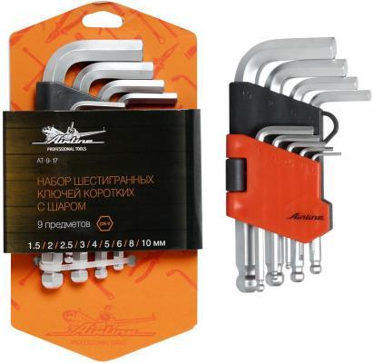 Набор ключей AIRLINE AT-9-17 с шаром 9 предметов (1.5.2.2.5.3.4.5.6.8.10мм) пласт.подвес набор инструмента airline at 41 04