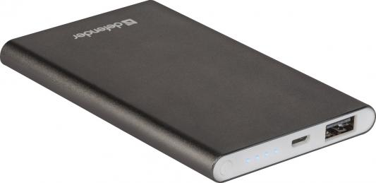 Внешний аккумулятор Power Bank 4000 мАч Defender ExtraLife темно-серый 2600mah power bank usb блок батарей 2 0 порты usb литий полимерный аккумулятор внешний аккумулятор для смартфонов светло зеленый