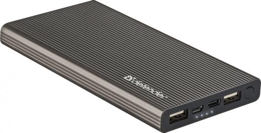 Внешний аккумулятор Power Bank 10000 мАч Defender ExtraLife Fast темно-серый 83642 цена и фото