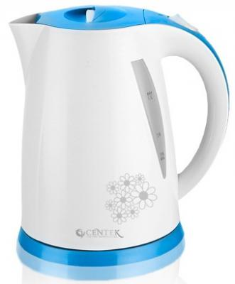 Чайник Centek CT-1006 LB 2200 Вт белый синий 1.7 л пластик