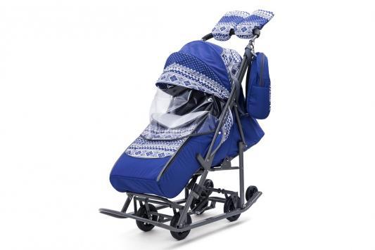 Купить Санки-коляска Скандинавия, цвет синий, Pikate, Санимобиль
