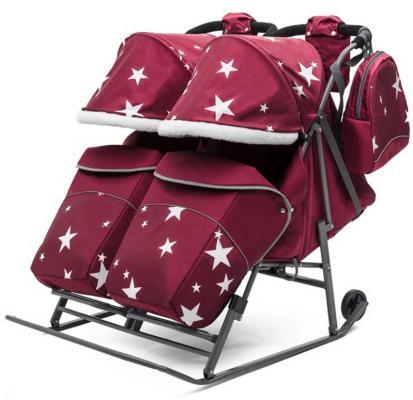 Санки-коляска для двойни Pikate TWIN Звезды, цвет бордо, Pikate коляска indigo charlotte duo ch 09 св коричн узор для двойни