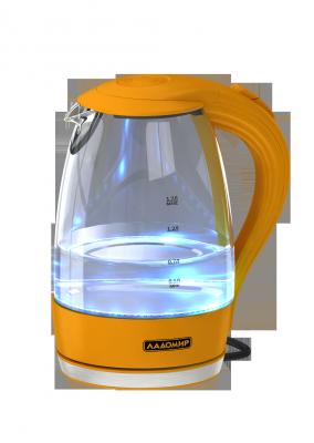 Чайник электрический Ладомир 104 2000 Вт оранжевый 1.7 л пластик/стекло чайник электрический ладомир 102 2000 вт серебристый 1 2 л нержавеющая сталь