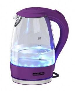 Чайник электрический Ладомир 104 2000 Вт фиолетовый 1.7 л пластик/стекло чайник электрический ладомир 102 2000 вт серебристый 1 2 л нержавеющая сталь