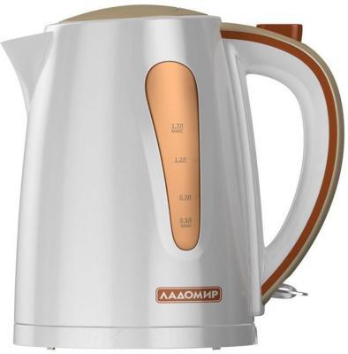 Чайник Ладомир AA 425 2000 Вт белый бежевый коричневый 1.7 л пластик чайник smile wk5306 2000 вт 1 7 л пластик белый