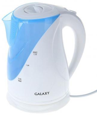 Фото - Чайник GALAXY GL 0202 2200 Вт белый голубой 1.7 л пластик galaxy gl 6193 голубой
