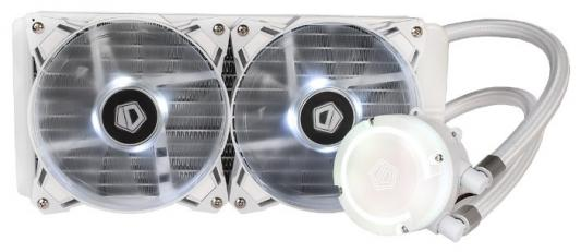 Комплект водяного охлаждения ID-COOLING AURAFLOW 240 SNOW LGA2066/2011/1366/1151/50/55/56/775/AM4/FM2/+/FM1/AM3/+/AM2/+/ (8шт/кор,TDP 200W, RGB FAN and PUMP, PWM, DUAL FAN 120mm, белый) RET