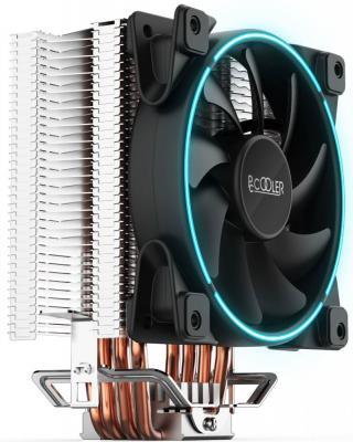Кулер PCCooler GI-X4 S775/115X/AM2/AM3/AM4 (24 шт/кор, TDP 145W, вент-р 120мм с PWM, Blue LED FAN, 4 тепловые трубки 6мм, синяя LED подсветка, 1000-1800RPM, 26.5dBa) thermalright le grand macho rt computer coolers amd intel cpu heatsink radiatorlga 775 2011 1366 am3 am4 fm2 fm1 coolers fan