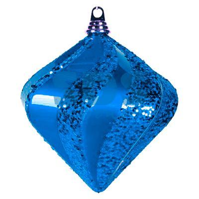 """Елочная фигура """"Алмаз"""", 20 см, цвет синий елочная фигура quot шар вихрь quot 20 см цвет серебряный"""