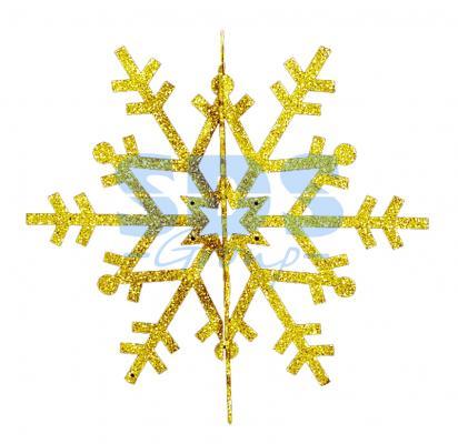 Елочная фигура Снежинка резная 3D, 61 см, цвет золотой