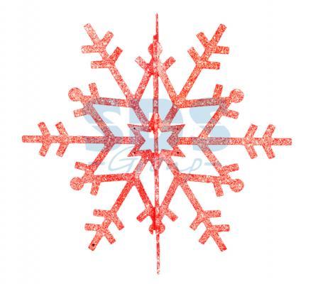 Елочная фигура Снежинка резная 3D, 61 см, цвет красный