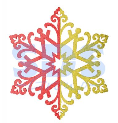 Елочная фигура Снежинка сказочная 40 см, цвет красный/золотой