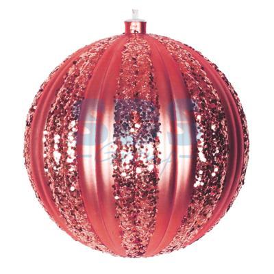 Елочная фигура Полосатый шар, 20 см, цвет красный светящееся украшение neon night фигура шар 20cm 200 led blue 501 607