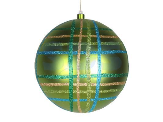 """Елочная фигура """"Шар в клетку"""" 25 см, цвет зеленый мульти елочная фигура quot шар вихрь quot 20 см цвет серебряный"""