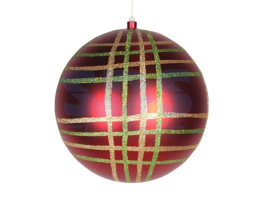 Купить Елочная фигура Шар в клетку 30 см, цвет красный мульти, NEON-NIGHT, Елочные украшения