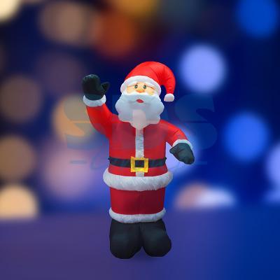 """3D фигура надувная """"Дед Мороз приветствует"""", размер 150 см, внутренняя подсветка 4 лампы, компрессор с адаптером 12В, IP 44 NEON-NIGHT 3d фигура надувная neon night снеговик с метлой с подсветкой высота 240 см"""