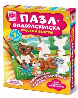 Пазл-водораскраска Фантазёр Лесные животные 4 элемента коврик пазл флексика 4 элемента