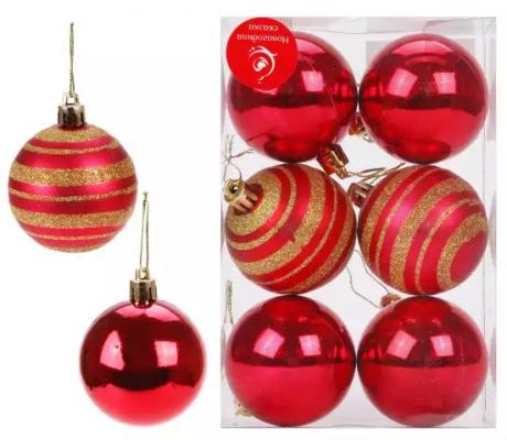 Набор шаров Новогодняя сказка красный 6 см 6 шт пластмасса н р шаров 6 см 3 шт золот