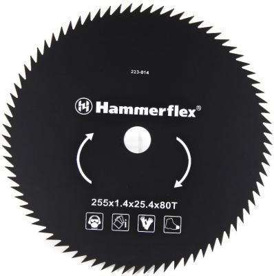Нож для триммера Hammer Flex 223-014 закаленная сталь, круглый, 80 зубьев, толщина 1,4 мм, d=255 мм диск для триммера 255х25 4 мм 80 зубьев dde 645 518