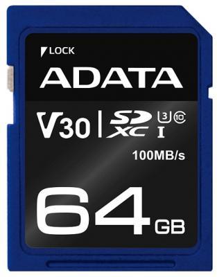 Карта памяти 64GB ADATA Premier Pro SDXC UHS-I U3 Class 10 (V30G) 95/90MB/s цена 2017