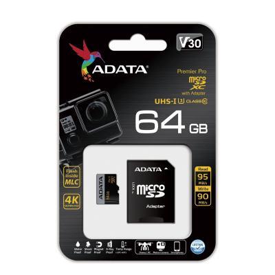Карта памяти 64GB ADATA Premier Pro microSDXC UHS-I U3 Class 10(V30G) 95 / 90 (MB/s) с адаптером цена 2017