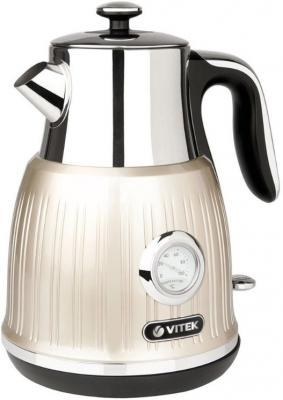 Чайник электрический Vitek VT-7067 MC 2150 Вт серебристый бежевый 1.6 л нержавеющая сталь чайник электрический vitek vt 7067 mc 2150 вт серебристый бежевый 1 6 л нержавеющая сталь