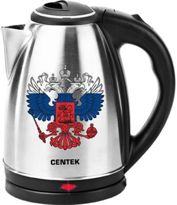 Чайник Centek CT-1068 2000 Вт серебристый чёрный 2 л нержавеющая сталь чайник centek ct 1068 матовый