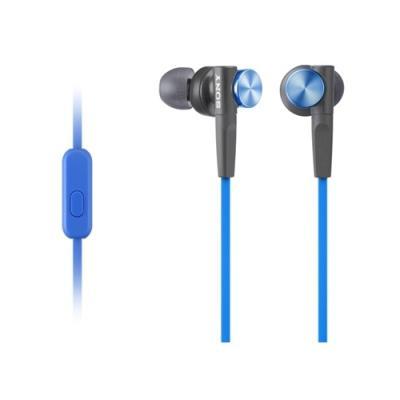 Наушники Sony/ внутриканальные 4-24000Гц 1,2м 3.5мм 106дБ микрофон, чехол, сменные амбушюры, синие микрофон sony ecm xyst1m