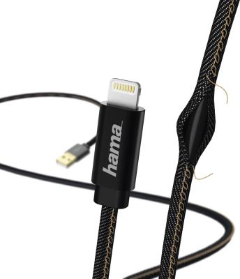 Кабель Lightning 1.5м HAMA Jeans круглый черный 00183201 кабель lightning 1 5м hama круглый h 173640