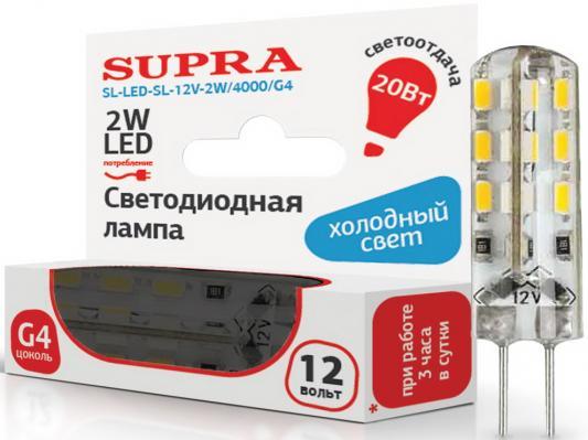 Лампа светодиодная Supra SL-LED-12V-2W/4000/G4 t10 2w 6500k 126lm 9 led white light bulbs for car pair 12v