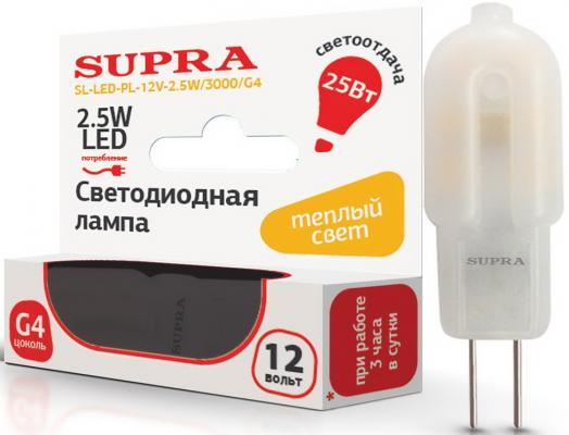 Фото - Лампа светодиодная Supra SL-LED-PL-12V-2.5W/3000/G4 g4 1 8w 120 150lm 3000 3500k warm white 30 smd 3528 led light bulb 12v