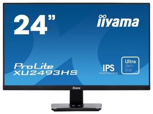 "Монитор 24"" iiYama PROLITE XU2493HS-B1 черный IPS 1920x1080 250 cd/m^2 4 ms Аудио VGA HDMI DisplayPort монитор 27 iiyama prolite xb2788qs b1 ips led 2560x1440 5ms dvi hdmi displayport"