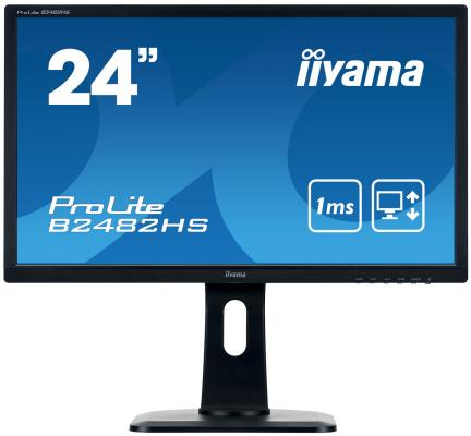 Монитор 24 iiYama B2482HS-B1 черный TN 1920x1080 250 cd/m^2 1 ms DVI HDMI VGA Аудио монитор 23 iiyama prolite xub2390hs b1 черный ah ips 1920x1080 250 cd m^2 5 ms аудио dvi hdmi vga
