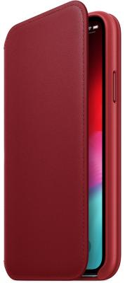 Фото - Чехол-книжка Apple Leather Folio для iPhone X красный MRQD2ZM/A аксессуар чехол apple iphone x krutoff leather folio berry 10833