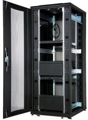 """Шкаф напольный Universal Line 19""""42U600x800 передняя дверь одностворчатая перфорированная,задняя дверь одностворчатая металлическая с щеточными кабельными вводами,цвет черный"""