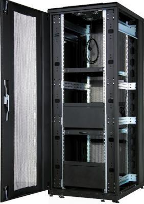 """Шкаф напольный CloudMax 19""""42U800x1000, передняя дверь одностворчатая перфорированная 80%,задняя дверь двустворчатая перфорированная 80%,цвет черный"""