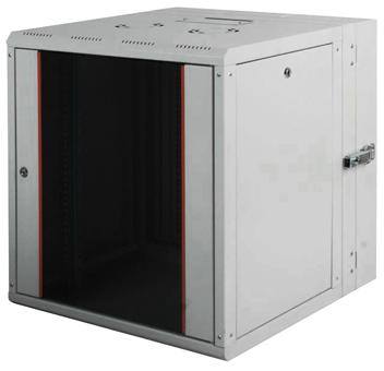 """все цены на Шкаф настенный PROline 19""""12U600x(160+450) дверь стекло с металлической рамой слева и справа, цвет серый онлайн"""