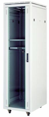 """Шкаф напольный Universal Line 19"""" 32U 600x800 передняя дверь одностворчатая стекло с металлической рамой слева и справа, задняя дверь одностворчатая металлическая с щеточными кабельными вводами, цвет серый"""
