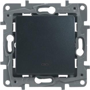 Выключатель одноклавишный с подсветкой/индикацией, автоматические клеммы, Etika, 10AX, 250В~, антрацит